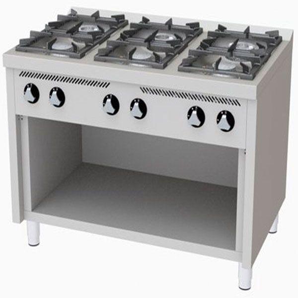 Cocinas Industriales A Gas 6 Fuegos Sin Horno Medida 1200 X 750 X